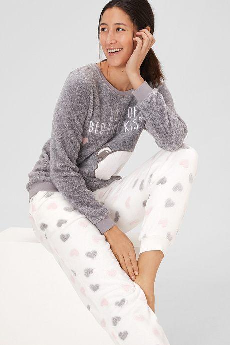 Mujer Set Pijama De Forro Polar Y Antifaz Snoopy Blanco