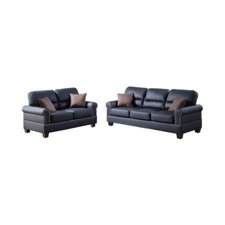Bobkona Shelton Bonded Leather 2-Piece Sofa and Loveseat Set, Black ...