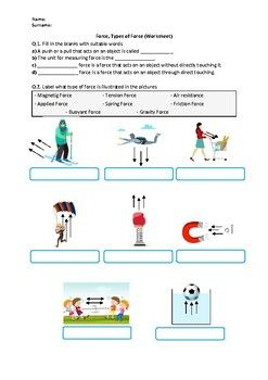 This Worksheet Contains Basic Conceptual Questions About Force And Types Of Force What S Incl In 2021 Learning Science Distance Learning Physical Science Middle School