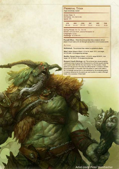 Primeval Titan Dnd Monster Dnd Monsters Dnd Dragons Dungeons And Dragons Homebrew
