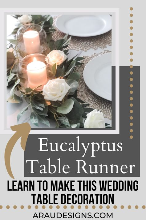 Looking for a simple DIY wedding table decoration? This beautiful eucalyptus table runner with candles is the perfect decor piece for any minimalistic bride. Match it with your rustic, boho, bohemian, or outdoor wedding. The candles add romantic lighting, giving you the ideal setting for the most important day of your life. Perfect not just for a wedding reception, but also for Christmas and Thanksgiving. Visit Araudesigns.com for more DIY ideas! #araudesigns #wedding #decor #diy #tablerunner