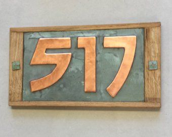 Oak Wood And Copper House Numbers X 3 3 75mm Or Copper House House Numbers