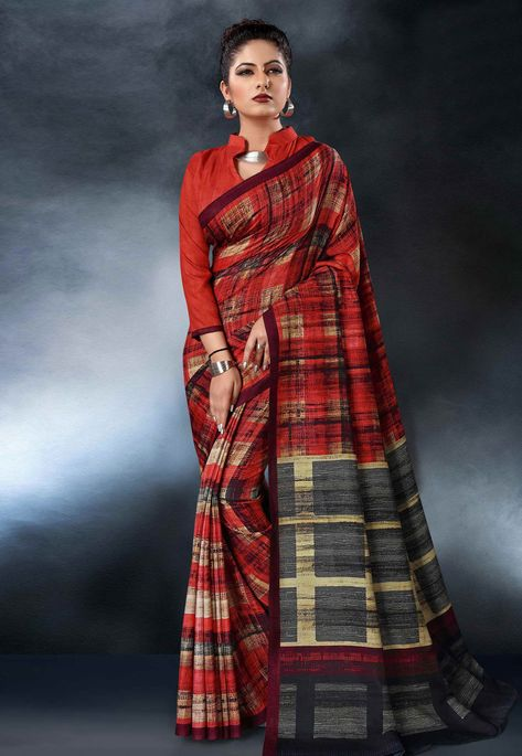 6080dfcd19254f Buy Red Tussar Silk Saree With Blouse 161848 with blouse online at lowest  price from vast collection of sarees at Indianclothstore.com.