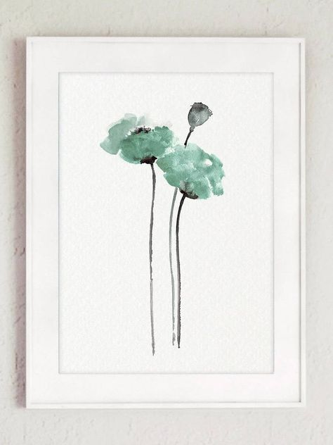 Flowers Print Set Of 3 Floral Art Prints Poppy Flower Pastel