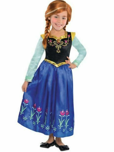 NEW SIZE 8-10 M FROZEN ANNA COSTUME DRESS GOWN CAPE HALLOWEEN GIFT GIRL DISNEY