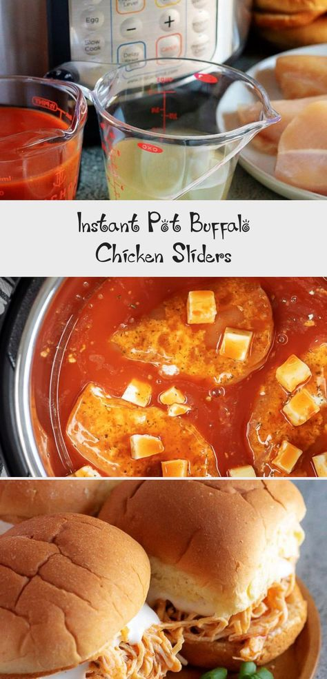 Instant Pot Buffalo Chicken sliders are a great game day or party appetizer or easy chicken sandwich dinner #buffalochicken #chicken #sliders #instantpot #recipes #HamburgerMeatRecipes #QuesadillaRecipes #GlutenFreeRecipes #DessertRecipes #RecipesVideos