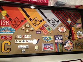 Tonight is about me.  I finished Josh's shadow box for his bridging over to Boy Scouts.  If you don't speak Scout, let me give you the trans...