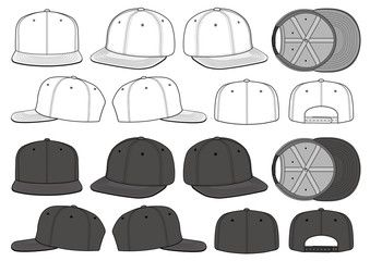 Snapback Cap Vector Illustration Flat Sketches Template Flat Sketches Technical Drawing Cap Drawing
