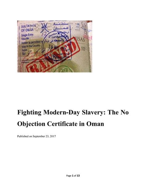 Fighting Modern-Day Slavery The No Objection Certificate in Oman - has no objection