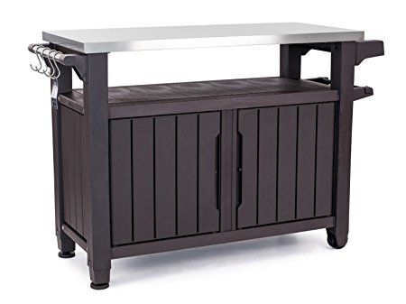 Keter Unity Xl Indoor Outdoor Entertainment Bbq Storage Table Prep Station Serving Cart With Metal Top Brown Patio Storage Diy Outdoor Table Bbq Table