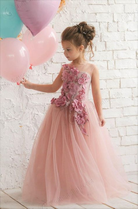 468e4e418ca Pink Flower Girl Dress - Birthday Wedding party Bridesmaid Holiday Blush  Pink Tulle Dress Lace Flowe