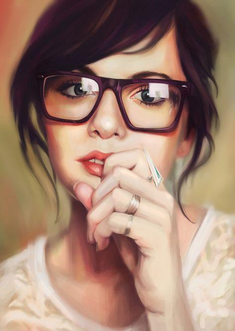 Без фона, картинка смешная девочка нарисованная в очках