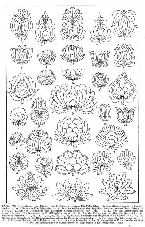 Free Clip Art and Digital Collage Sheet - Magyar Ornament Hungarian Embroidery, Folk Embroidery, Embroidery Stitches, Japanese Embroidery, Floral Embroidery, Bordado Popular, Embroidery Designs, Arte Popular, Zentangle Patterns