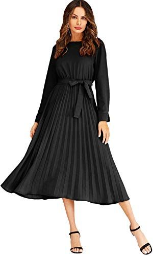 Amazing Offer On Verdusa Women S Round Neck Long Sleeve Belted Pleated Fit Flare Dress Online In 2020 Pleated Dress Pleated Midi Dress Fit And Flare Dress