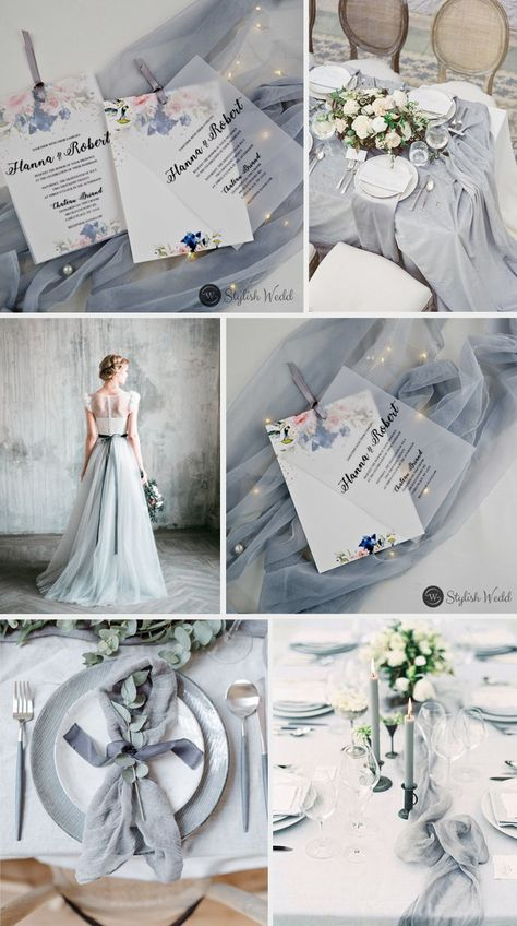 elegant blush and navy flowers vellum layered wedding invitations with silver ribbons Silver wedding inspiration for the alternative, creative bride.