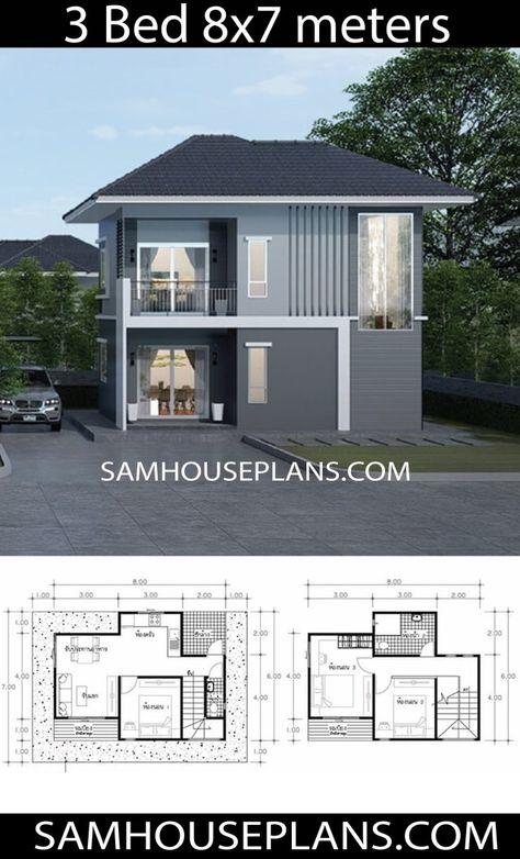 House Plans Idea 8x7 With 3 Bedrooms Disenos De Casas Casas De Dos Pisos