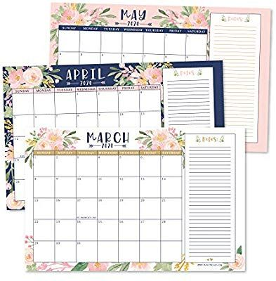 Amazon Com Navy Floral 2020 2021 Large Monthly Desk Or Wall Calendar Planner Big Giant Planning Blott In 2020 Wall Calendar School Shopping List Large Desk Calendar