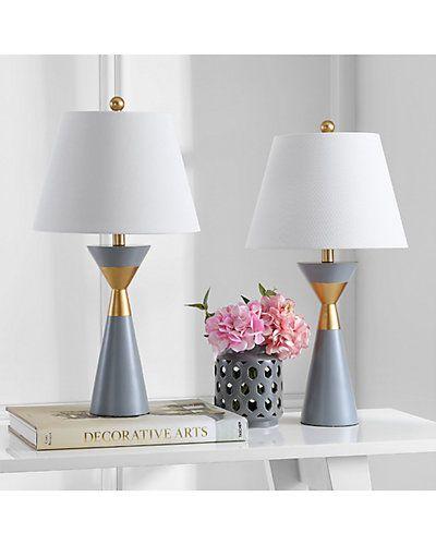 Safaviehsafavieh Set Of 2 26 5in Lian Table Lamps Table Lamp Sets Grey Table Lamps Table Lamp