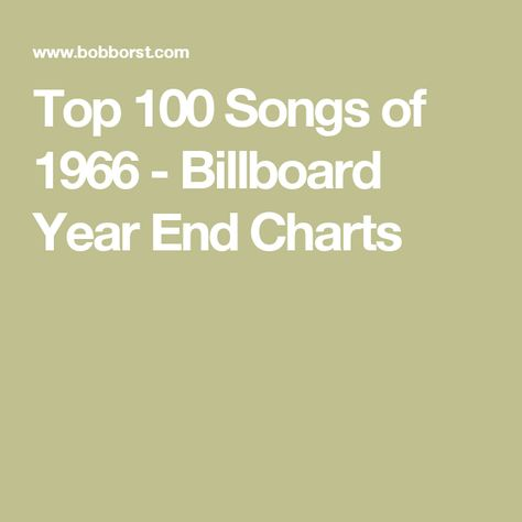Top 100 Songs of 1966 - Billboard Year End Charts | Music