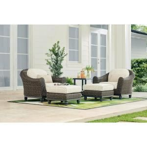 Home Decorators Collection Camden Dark Brown 5 Piece Wicker Outdoor Chat Set With Sunbrella Fretwork Flax Cushions Fra60624avw St The Home Depot Patio Lounge Chairs Patio Lounge Lounge Chair Outdoor