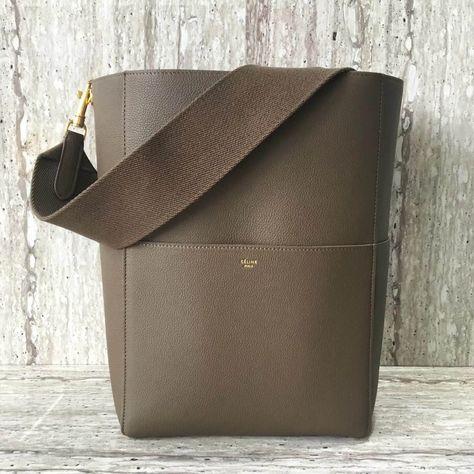 Celine Sangle Bucket Bag in Soft Grained Calfskin Grey 2018