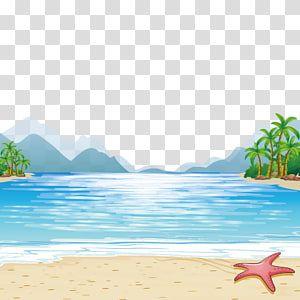 Child Beach Illustration Sea Mountains Starfish At Beach Cartoon Graphic Sticker Transparent Background Png Cl Beach Illustration Beach Cartoon Beach Drawing