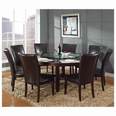 Steve Silver Hartford 9 Piece Round Dining Room Set w/ Brown Chairs