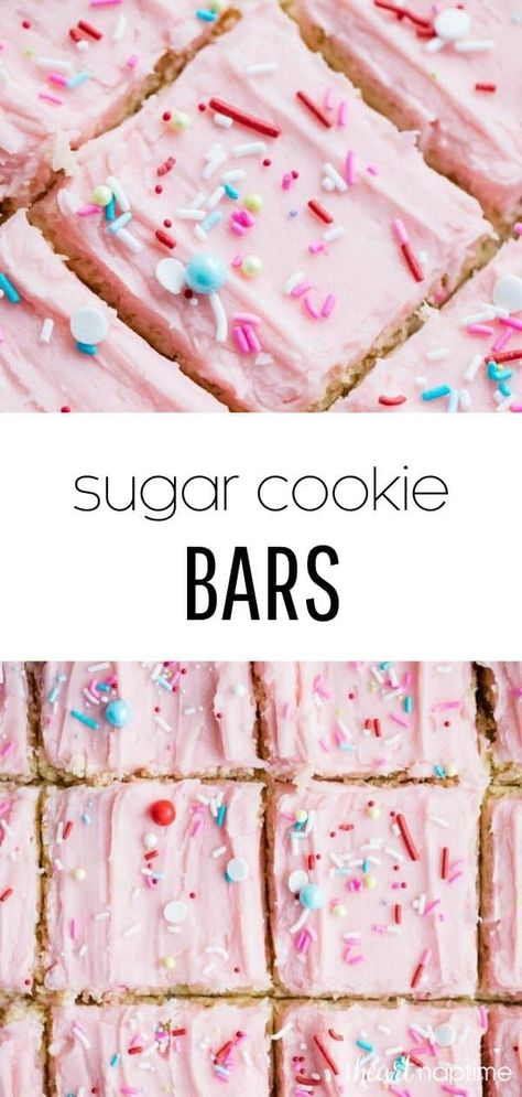 Amazing sugar cookie bars that are soft, fluffy and absolutely delicious! Half the work of traditional sugar cookies and taste just as good! Topped with a rich buttercream frosting to make the ultimate sweet treat! #sugarcookies #sugarcookiebars #cookiebars #frosting #buttercream #buttercreamfrosting #homemade #baking #desserts #recipes #iheartnaptime