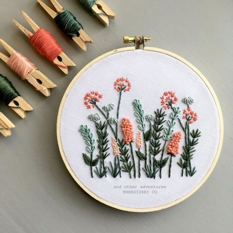 Modern Hand Embroidery KIT - Coral and Mint Meadow DIY Embroidery Hoop by And Other Adventures Embro Floral Embroidery Patterns, Embroidery Materials, Dmc Embroidery Floss, Hand Embroidery Stitches, Modern Embroidery, Embroidery Hoop Art, Cross Stitch Embroidery, Embroidered Flowers, Hand Stitching