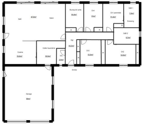 Plan De Maison Plain Pied En L Plan Maison Plain Pied Plan