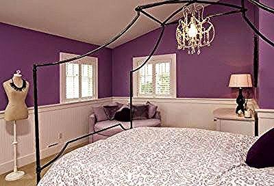 احدث صور وإشكال لديكورات دهانات الحوائط لغرف النوم باللون البنفسجي الموف Trendy Bedroom Gray Bedroom Interior Decoration Bedroom