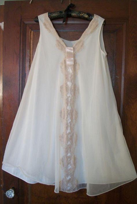 1af5aec2b6c Vintage Chiffon   Lace Nightgown Dress 1960 s Sears Sissy Gown Ecru Pretty  Sm  Sears