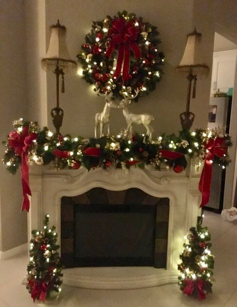 Set of 4pc, Christmas Red Velvet Wreath, Garland and 2 Topiaries. FREE SHIPPING. Cordless, Pre-lit