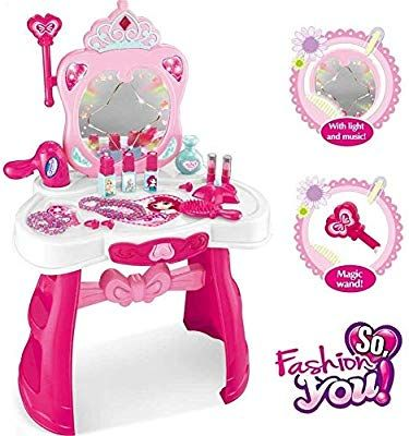 Amazon Com O B Toys Gift Princess Vanity Table Set Girls Pretend Play Set Beauty Dresser Make Up V Toddler Girl Gifts Toddler Christmas Gifts Vanity Table Set