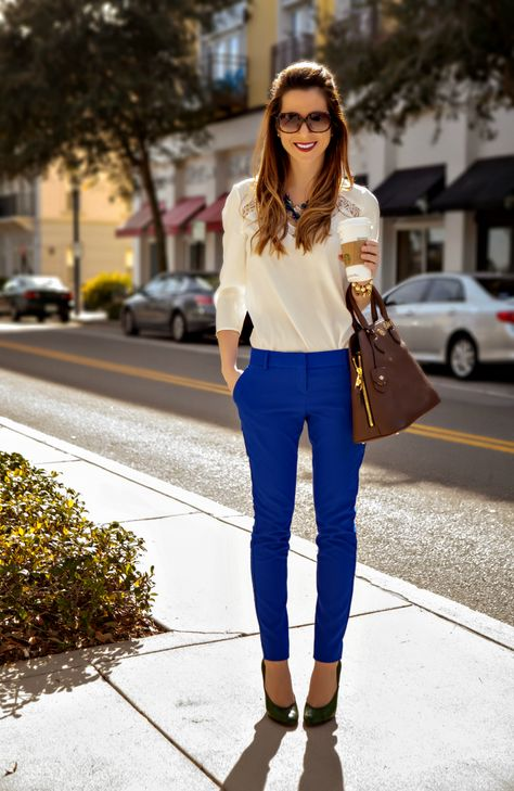 Gotta love a pair of bright blue pants! Pairing them with a simple black heel and white, clean-cut shirt keeps the look crisp and professional.