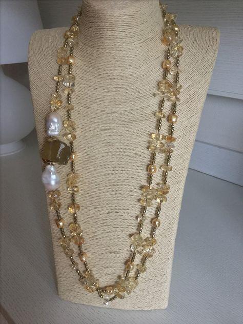 nuovo prodotto b1101 bfa67 Lunga collana in quarzo citrino,ematite oro, grandi perle ...