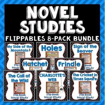 Novel Study Bundle Set B Flipbook Projects Activities Literary Elements Novel Studies Novel Study Project Flip Book