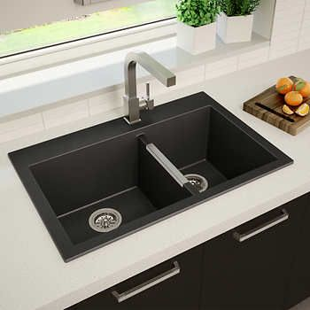Artika 60 40 Double Bowl Black Granite Sink Kitchen In