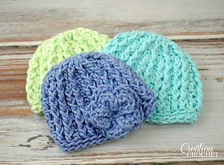 This unisex crochet preemie hat is quick to make and very easy to work up. It is the perfect size for a premature infant. I have also included directions for full term newborns. Leave plain for a boy or add a pretty flower for a tiny baby girl.