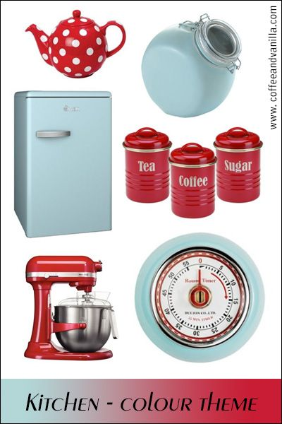 Retro Blue and Red Kitchen