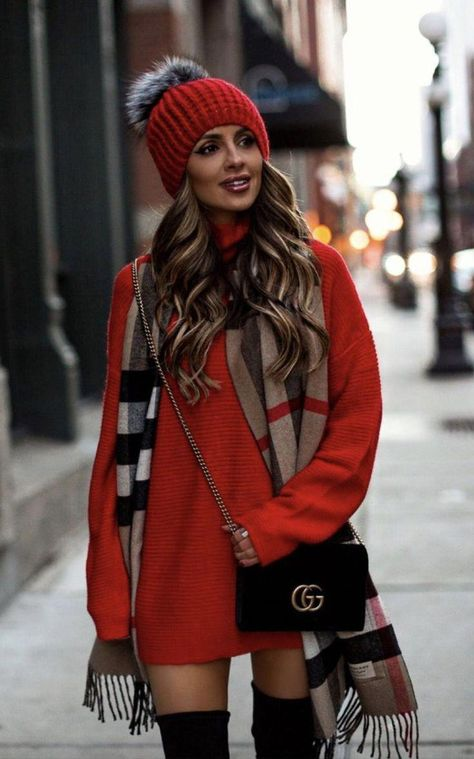 40 Outstanding Casual Outfits To Fall In Love With: Casual outfits for spring & fall to get inspired by! If you're looking for causal outfit inspiration, casual everyday outfits and fashion ideas, these 40 beautiful outfits by fashion bloggers will motivate you to look trendy in no time. | Image by © MiaMiaMine / Red sweater dress with red pom pom hat outfit / #sweaterdress #Casualeverydayoutfits #casualoutfits #outfitsinspiration #casualoutfitinspiration  #fashionstylecasualsimpleclassy