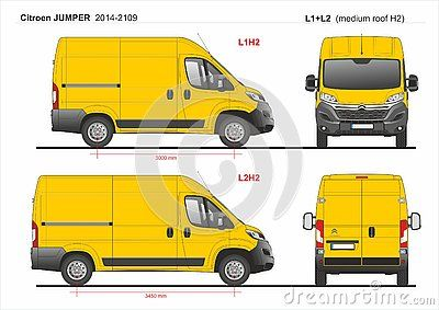 Citroen Jumper Cargo Delivery Van Swb L1h2 And Mwb L2h2 Medium Roof 2014 2019 Detailed Template For Design And Production Of V Citroën Jumper Van Vw Caddy Maxi