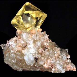 Crystal of Golden Calcite with Stilbite and Apophyllite!!
