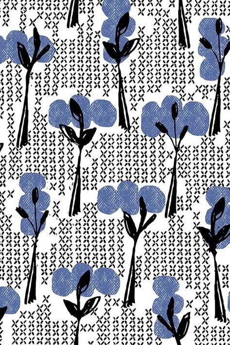 Retro blue trees by ottomanbrim. Sketched abstract flowers and shapes in black and lavendar on fabric, wallpaper, and gift wrap.