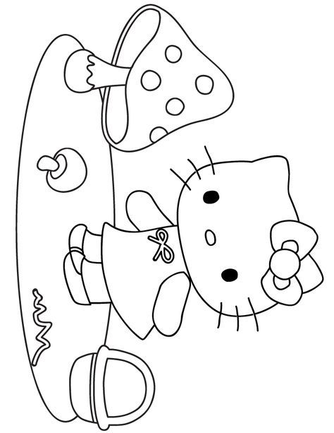 Hello Kitty Picking Mushrooms Coloring Page H M Coloring Pages Hello Kitty Coloring Kitty Coloring Hello Kitty Colouring Pages