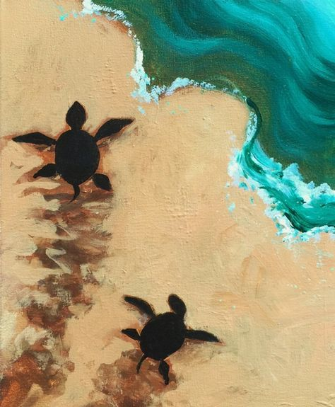 Turtles in the sand and surf, beginner painting art idea.