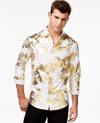 Versace Jeans Gold-Foil Floral-Print Long-Sleeve Shirt - Casual ...