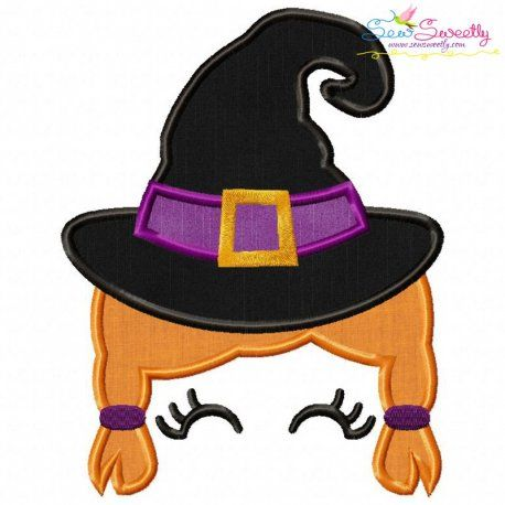 Witch Face Girl  Design Machine Embroidery Design Digital Download ONLY Halloween