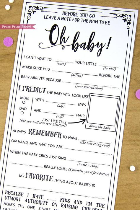 Baby Shower MadLibs Advice Card Boho Baby Shower Gender | Etsy