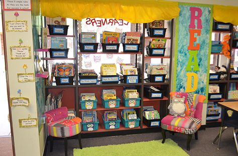 Love this owl themed classroom library.  Those chairs are awesome!